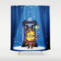 ballon Shower Curtains featuring  Yellow Doll  hold ballon doctor with blue phone booth by JanaProject