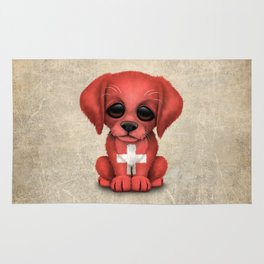 Cute Puppy Dog with flag of Switzerland Rug