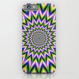 Spiky Pulse in Green Yellow Blue and Pink iPhone Case