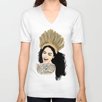 india V-neck T-shirts featuring India by ElodieD