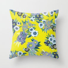 Floral pattern in Neon yellow Throw Pillow