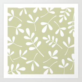 Assorted Leaf Silhouettes White on Lime Art Print