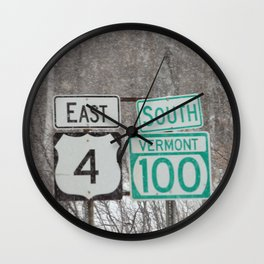 Vermont Street Signs Wall Clock