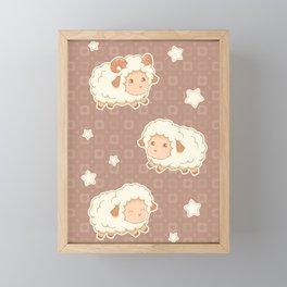 Cute Little Sheep on Brown Framed Mini Art Print