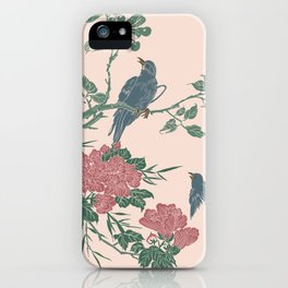Oriental Scene with Bird on Tree Illustration/ Art iPhone Case