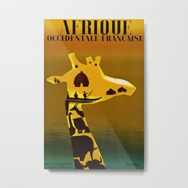 Afrique Occidentale Francaise Vintage Travel Poster Metal Print