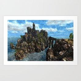 Castle on rock isle Art Print