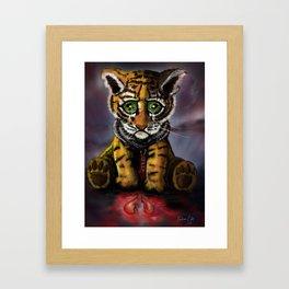 Sad Baby Tiger Framed Art Print
