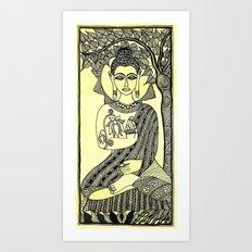 Buddha under Mahabodhi tree Madhubani Art Art Print
