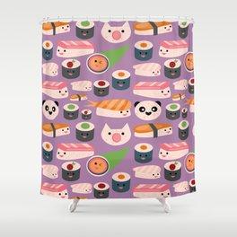 Kawaii sushi purple Shower Curtain