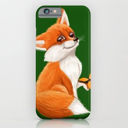 Cute fox playing with a butterfly iPhone Case