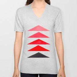 Vintage Scandinavian Red Geometric Triangle Pattern Unisex V-Neck