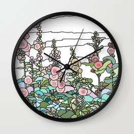 flowers and leaves on white background . Home Decor Graphicdesign Wall Clock