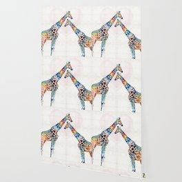Colorful Giraffe Art - I've Got Your Back - By Sharon Cummings Wallpaper