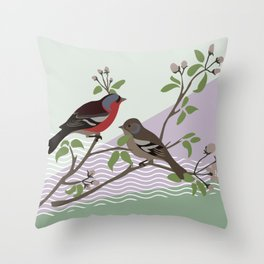 loving chaffinches Throw Pillow