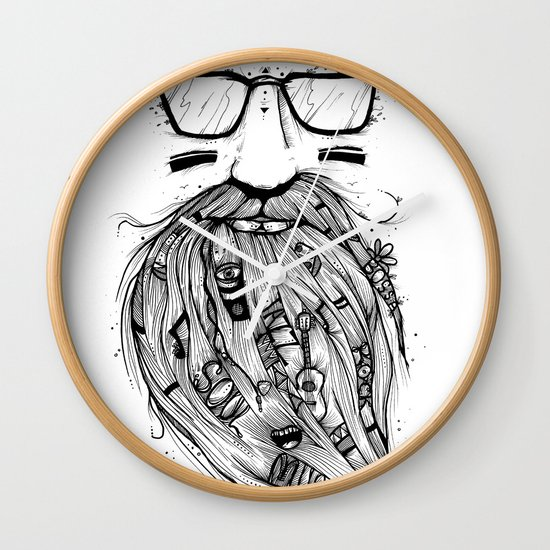 Beard Me Some Music (Black & White) Wall Clock