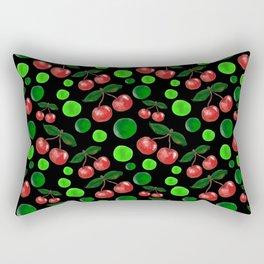 Cherries on Black Rectangular Pillow