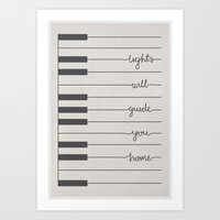 coldplay Art Prints featuring Piano Fix You lyrics by Daniel Devoy