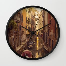 Boats in the canal in Venice with a little bridge over the water Wall Clock