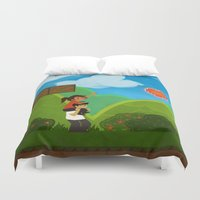 gaming Duvet Covers featuring Co-Op Gaming by CazArts