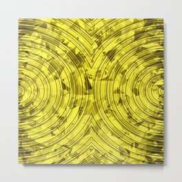 psychedelic geometric circle pattern abstract background in yellow Metal Print