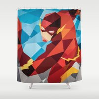dc Shower Curtains featuring DC Comics Flash by Eric Dufresne