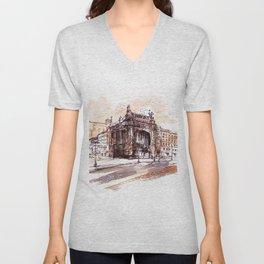 Art Nouveau building / watercolor and ink. Unisex V-Neck