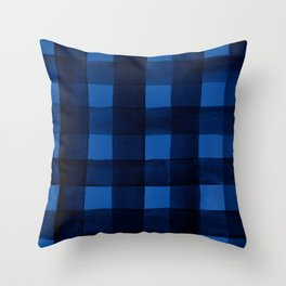 Buffalo Plaid Watercolor in Blue Throw Pillow