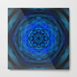 Blue Kaleidoscope, Floral, Pattern, Mandala, Fractal, Abstract, Alchemy, Oriental Metal Print