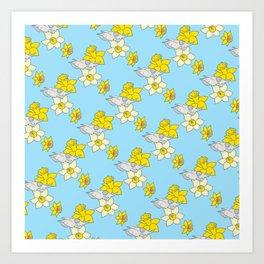 Daffodils + Bovine Art Print