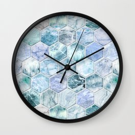 Ice Blue and Jade Stone and Marble Hexagon Tiles Wall Clock
