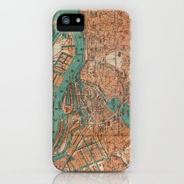 Vintage Map of Hamburg Germany (1910) 2 iPhone Case