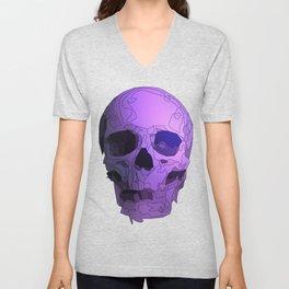 Skull - Violet Unisex V-Neck