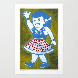 "Miss Snapper (2010), 17"" x 27"", acrylic on gesso on chipboard Art Print"