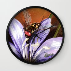 Fly on flower 10 Wall Clock