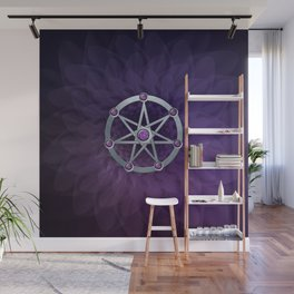 Elven star SIlver embossed with Amethyst Wall Mural