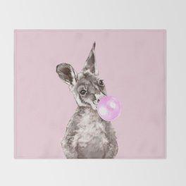 Bubble Gum Baby Kangaroo Throw Blanket