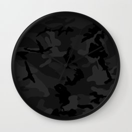 Camouflage Black Wall Clock