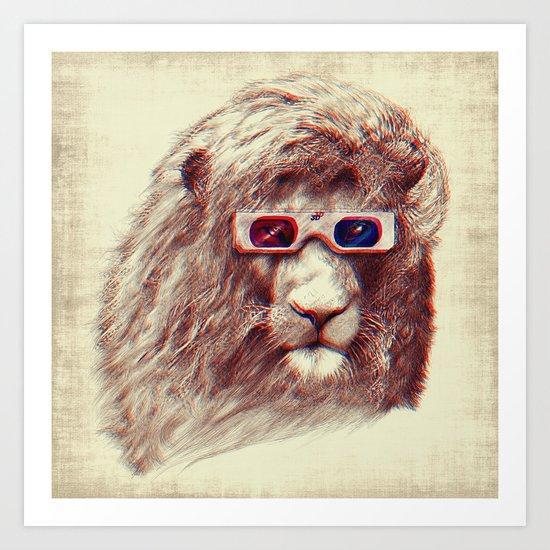 3D Lion Art Print