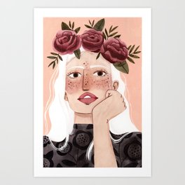 Floral wreath Art Print