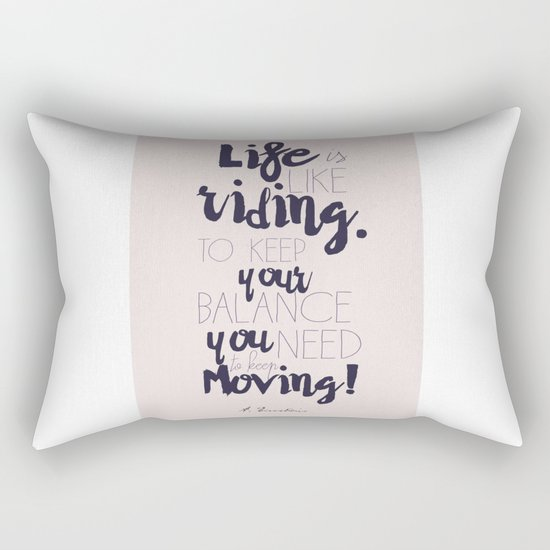A. Einstein quote on life for motivation inspiration and strenght, typography, illustration, decor Rectangular Pillow