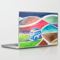vw bus Laptop & iPad Skins featuring VW Bus Campervan by Carrie at Dendryad Art