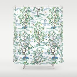 CitrusGrove Toile in White Shower Curtain
