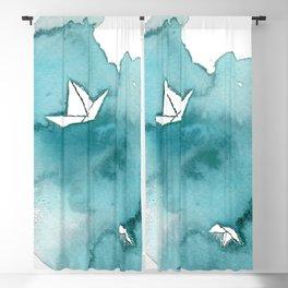 Watercolor Paper Ship Blackout Curtain