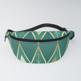 Mid Century Modern Large Diamonds Teal Turquoise Gold Fanny Pack
