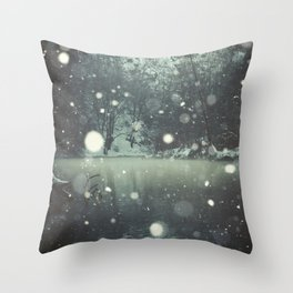 Moments of Silence - Snowflakes over the river Throw Pillow