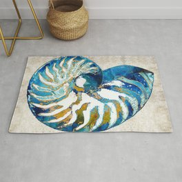 Beachy Art - Nautilus Shell Bleu - Sharon Cummings Rug