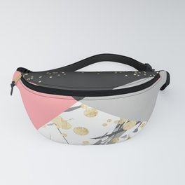 Modern faux gold pink color block confetti Fanny Pack