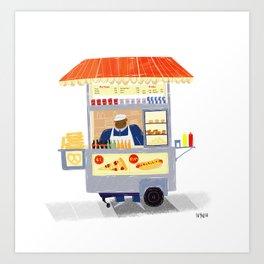 NY Street Food vendor Art Print