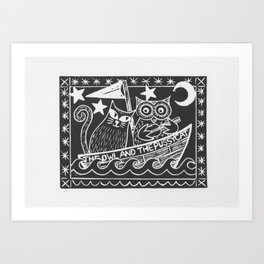 The Owl And The Pussycat (black background) Art Print